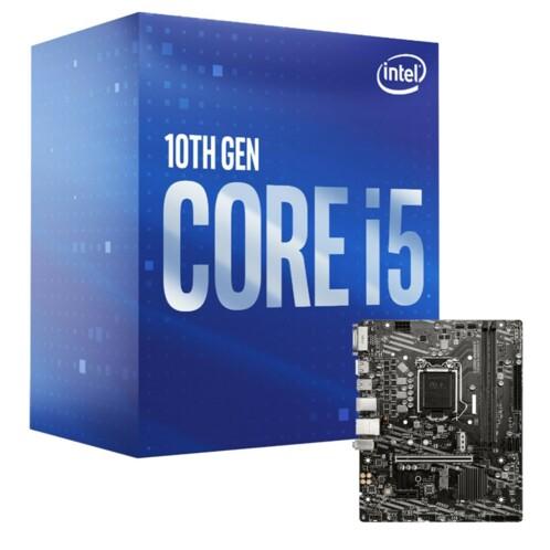 Kit avec une carte mère MSI H410M-A Pro et un processeur Intel i5-10400.