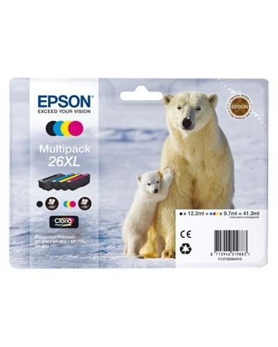 Pack cartouches originales Epson N°26 Ours Polaire XL - Pack