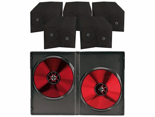 50 boîtiers rectangulaires pour 2 DVD / CD - Noirs