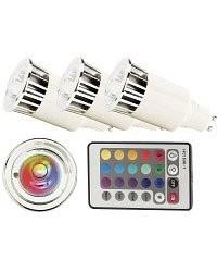 achat 3 ampoules led gu10 multicolore rvb t l commande pas cher. Black Bedroom Furniture Sets. Home Design Ideas