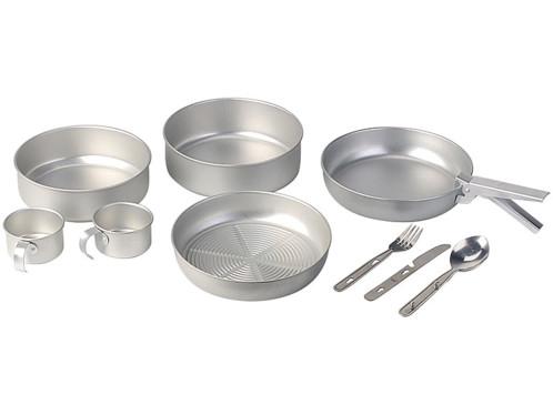 Set de Cuisine pour camping en aluminium - 10 pièces