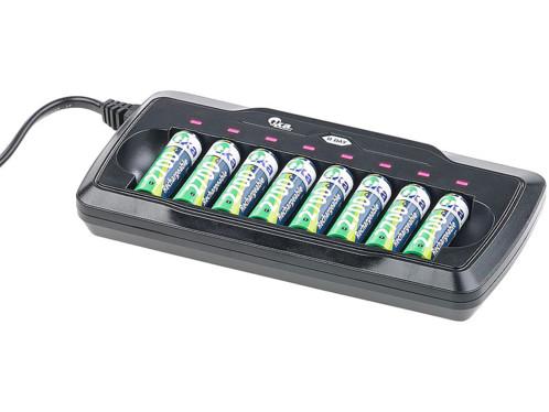 Chargeur pour 8 accus AA/AAA avec minuteur de sécurité - avec Refresh