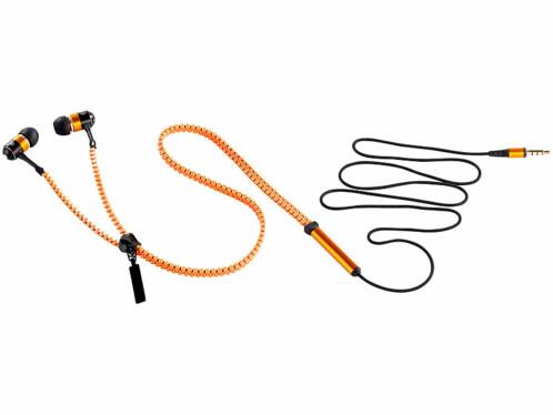 Ecouteurs sur fermeture à glissière ''LE-400.Zip'' - Orange