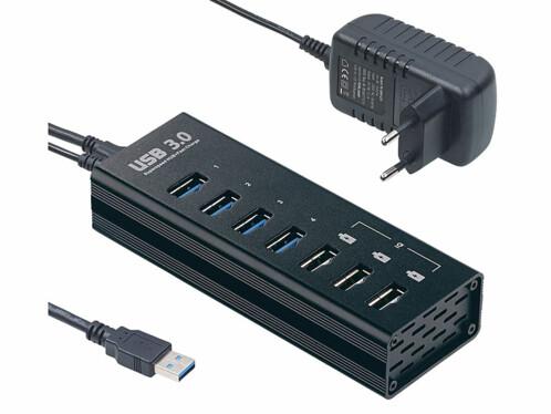 Hub actif à 4 ports USB 3.0 et 3 ports de chargement rapide 4 A