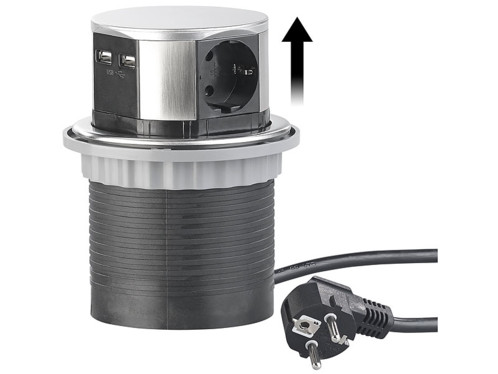 Multiprise encastrable Ø 100mm avec 3prises et 2ports USB (reconditionnée)