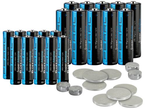 Lot de 32 piles : 10 piles AA, 10 piles AAA, 4 piles LR44 et piles bouton