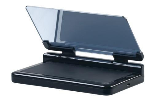 afficheur tete haute pour smartphone avec chargeur indusction qi intégré lescars