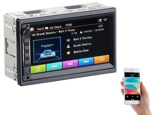 autoradio 2din avec ecran tactile couleur bluetooth entree camera de recul streaming audio GPS cas-4445