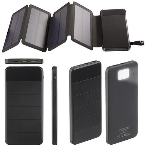 batterie usb solaire de secours 2 sorties usb avec panneau depliable et lampe de poche ravolt