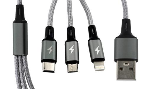 Câble de chargement 3 en 1 : compatible Micro-USB/ USB-C/ Lightning - 60cm