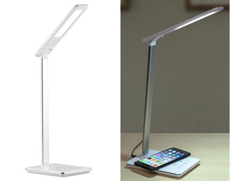 Lampe de bureau avec chargement compatible Qi et luminosité/couleurs réglables