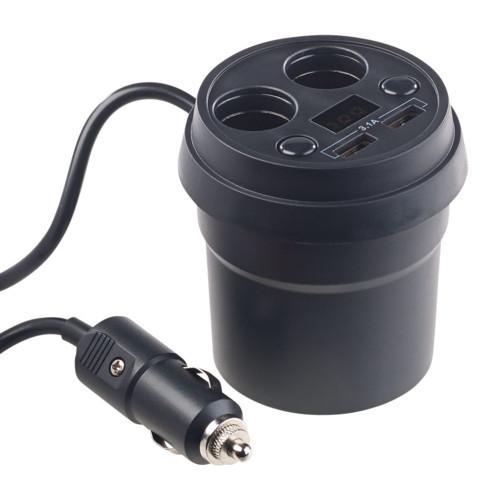 Répartiteur allume-cigare 2x 12/24 V et 2x USB pour porte-gobelet