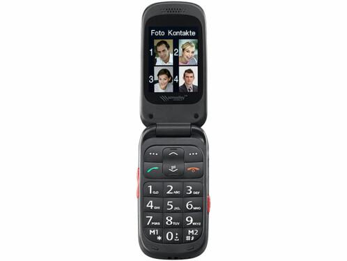 telephone portable clapet pour seniors avec garantruf premium appels d'urgence en cas de problemes simvalley XL948
