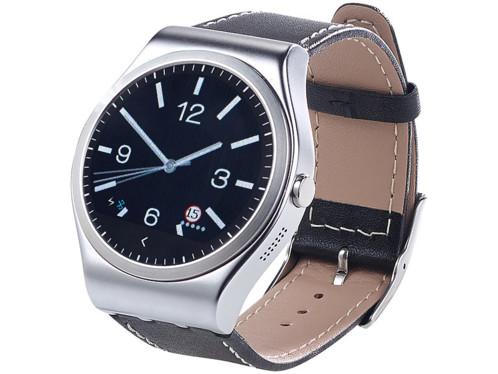 smartwatch cadran rond style montre classique avec bluetooth notifications android ios et capteur cardiaque simvalley