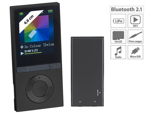 baladeur lecteur mp3 avec radio fm bluetooth et longue autonomie auvisio. Black Bedroom Furniture Sets. Home Design Ideas