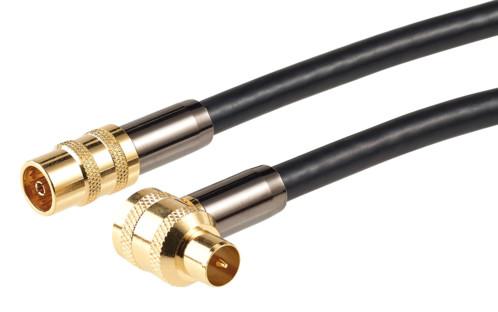 cable video coaxial male femelle pour prise antenne avec connecteur doré courbé hdtv 105db auvisio 1m