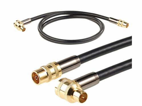 Câble antenne coaxial HDTV Premium 105 dB à connecteur coudé 90° - 1 m