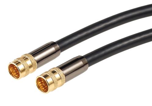 Cable antenne coaxial avec fiche f droit male male dorés haute performance auvisio 1m