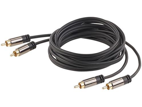 cable audio cinch male vers cinch mâle connecteurs dorés 24 carats cable en cuivre double blindage 2 m