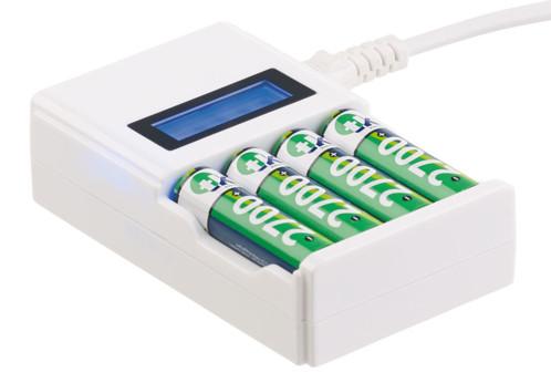 Chargeur rapide pour 4 accumulateurs NiMH/NiCd avec écran LCD
