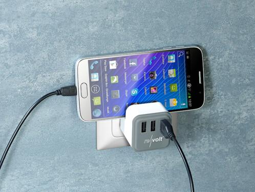 Chargeur secteur USB 3,4 A avec 3 ports et support téléphone