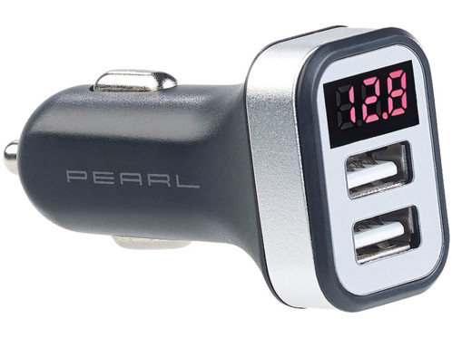 chargeur double usb pour prise allume cigare 12v 24v avec afficheur led intensité de chargeur tenson de la batterie et avertissement batterie faible