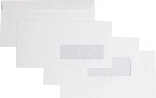 Enveloppes blanches format DL avec fenêtre par 500