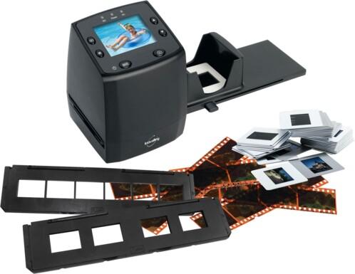 Scanner SCAN10 avec support négatifs, support diapositives et distributeur rapide de diapositives.