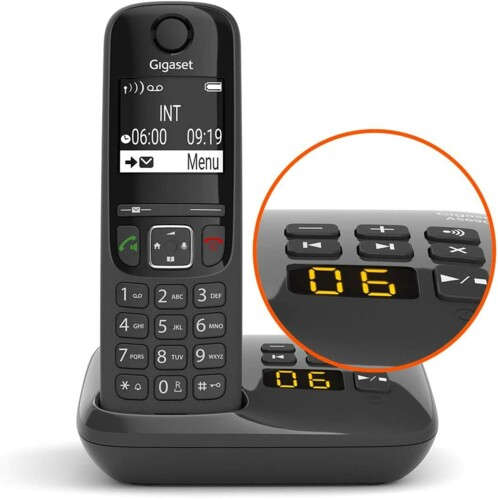 Téléphone fixe Gigaset AS690A Solo noir avec répondeur intégré.