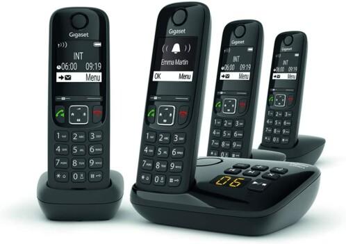Téléphones fixes AS690A Quattro - 4 combinés - Avec répondeur - Noir
