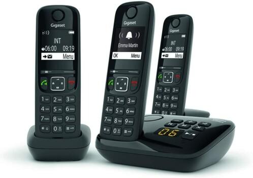 Téléphones fixes AS690A Trio - 3 combinés - Avec répondeur - Noir