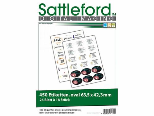 450 étiquettes ovales 63,5 x 42,3 mm