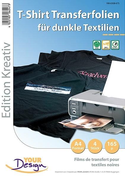 Papier transfert jet d'encre textiles sombres - 4 feuilles