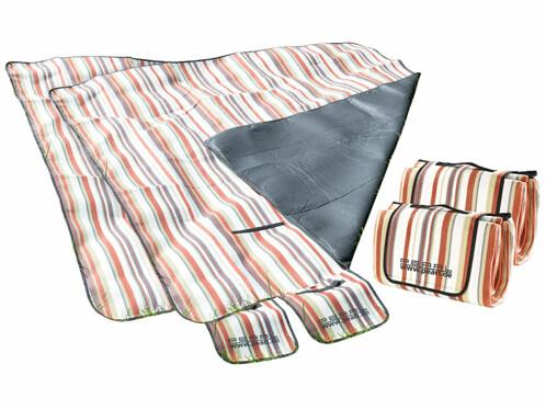 Lot de 2 couvertures de pique-nique imperméables avec rayures rouges et blanches.