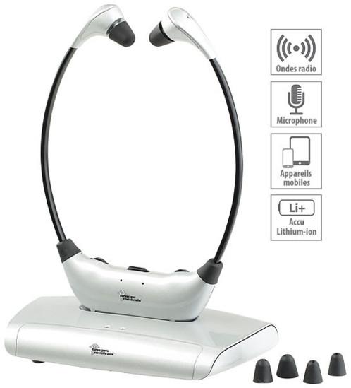 Casque tv sans fil avec amplification 125db newgen kh 180 - Casque pour tv sans couper le son ...