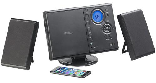 mini chaine hifi avec 2 haut parleurs sans fil lecteur cd bluetooth auvisio msx 500