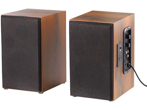 paire d'enceintes stéréo avec caisse bois et connexion filaire ou bluetooth 34w auvisio