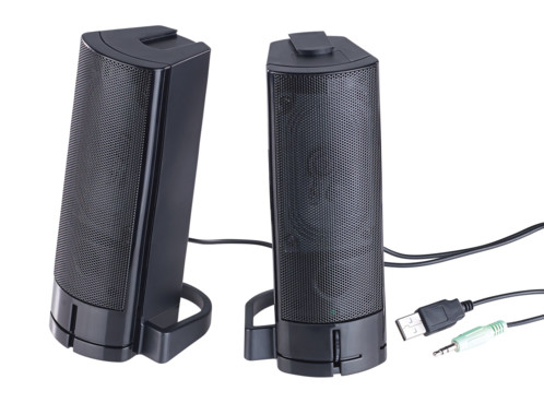 paire haut-parleurs stéréo 2.1 avec connecteurs USB et jack pour PC auvisio