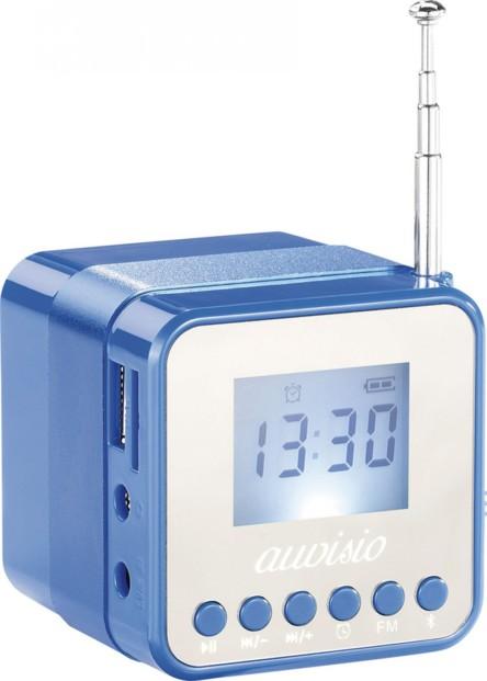 Mini station MP3 avec radio, réveil et bluetooth MPS-560.cube - Bleu