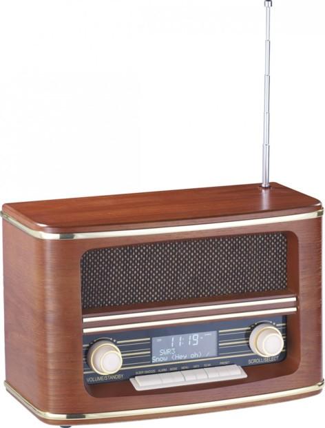 Radio design rétro en bois, signal FM ou DAB numérique par Auvisio ...