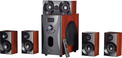 Système audio home cinema Surround 5.1 avec radio / MP3 - Style Bois
