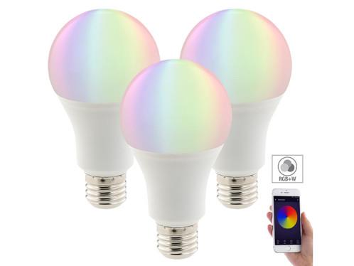3 ampoules LED connectées E27 / 10 W / A+ - RVB