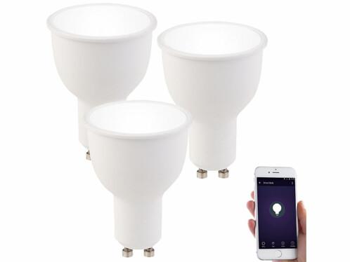 3 ampoules LED connectées GU10 4,5 W LAV-45.k - Blanc neutre