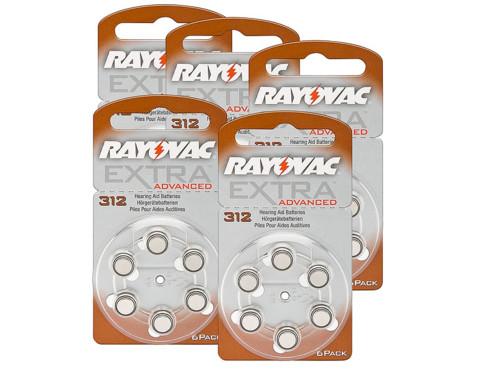 5 lots de 6 piles Zinc Air PR41 pour appareil auditif