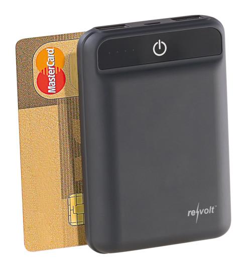 Mini batterie externe de secours powerbank format carte de credit capacité 10000 mah revolt pour iphone smartphone