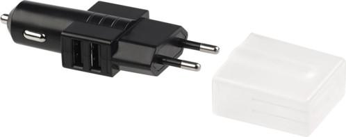 chargeur usb avec double connecteur allume-cigare 12v et secteur 230V