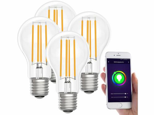 4 ampoules LED connectées LAV-150.w E27- A60- 7W- Blanc chaud
