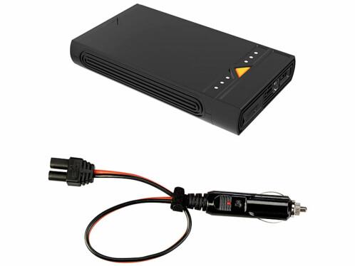 Batterie d'appoint 15300 mAh avec câble pour prise allume-cigares.