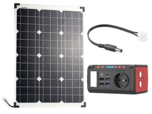 Batterie nomade et convertisseur solaire HSG-240 avec panneau solaire 50 W, par Revolt.