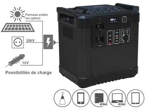 batterie nomade 455 ah avec schéma de possibilités de charge et de connexion
